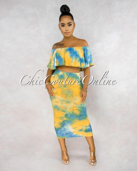 Adoniram Blue Yellow Tie-Dye Ruffle Top Pencil Skirt Set