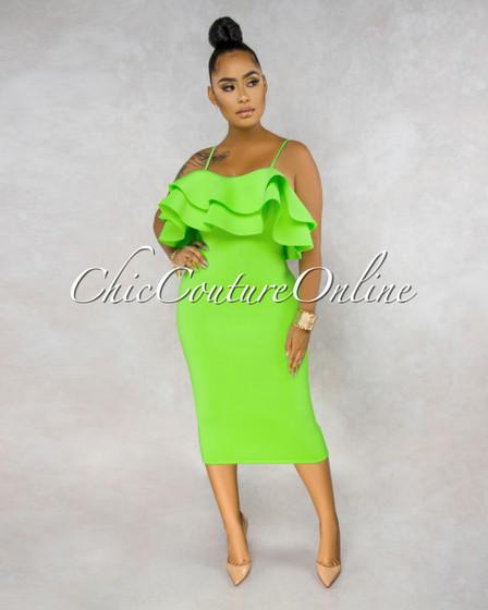 Eterna Neon Lime Ruffle Off-The-Shoulder Ponti Dress