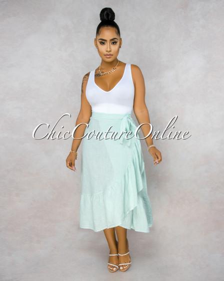 Taraji Mint Wrap Ruffle Maxi LINEN Skirt