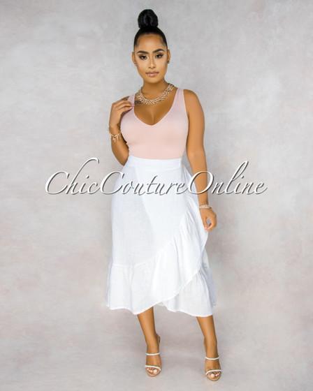 Taraji White Wrap Ruffle Maxi LINEN Skirt