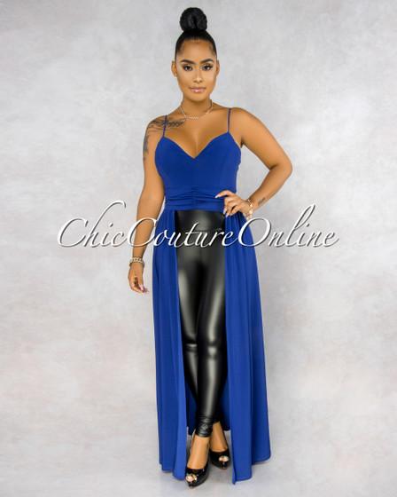 Charlesetta Royal Blue Dramatic High-Low Top