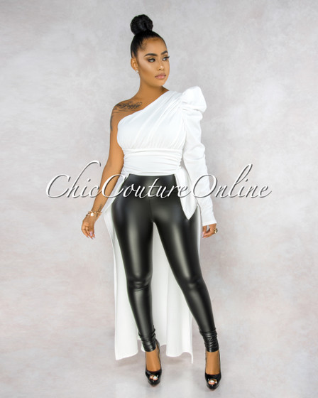 Arleo Off-White Dramatic High-Low Single Shoulder Top