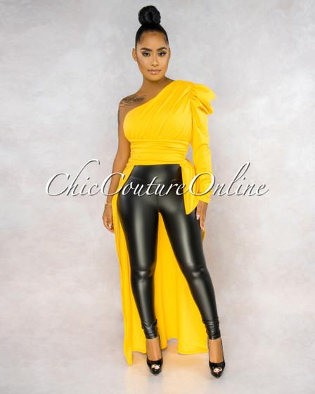 Arleo Yellow Dramatic High-Low Single Shoulder Top