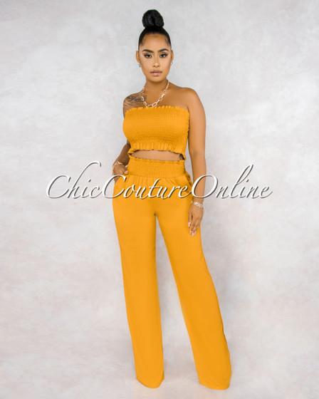 Jordany Mustard Yellow Smocked Top Wide Pants Set