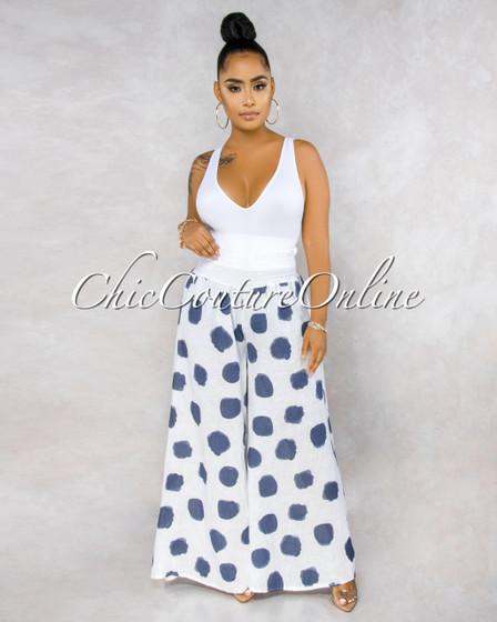 Albina White Navy Blue Polka Dots Wide Legs LINEN Pants