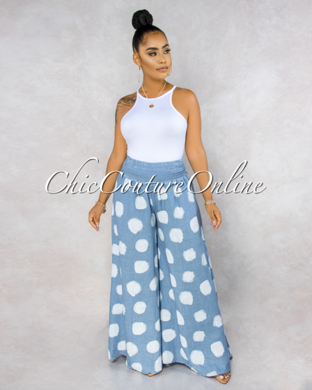 Albina Baby Blue White Polka Dots Wide Legs LINEN Pants