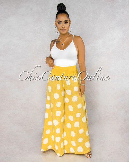 Albina Yellow White Polka Dots Wide Legs LINEN Pants