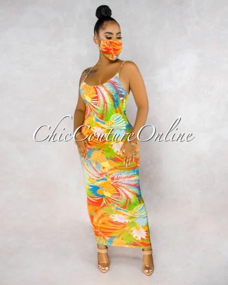 Alania Orange Tropical Print Matching Fashion Mask Dress