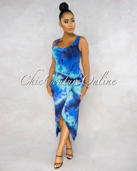 Cedria Blue Tones Tie-Dye Wrap High Low Dress