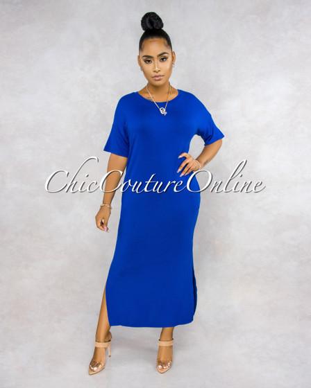 Cherish Royal Blue Maxi Shirt Dress