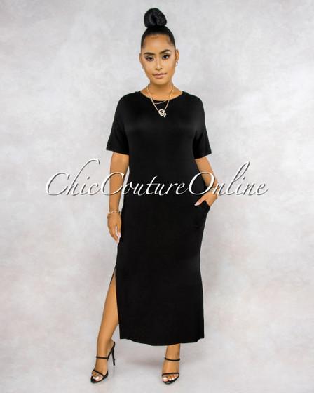 Cherish Black Maxi Shirt Dress