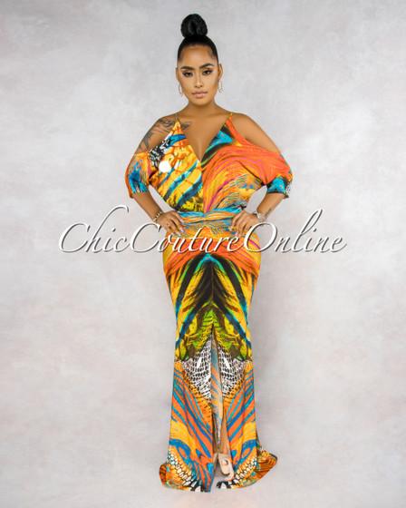 Colina Orange Multi-Color Print Cold Shoulders Maxi Dress