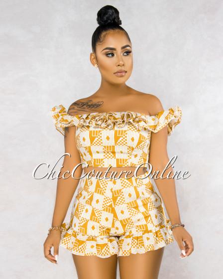 Iria White Mustard Geometric Print Ruffle Shorts Two Piece Set