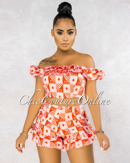 Iria White Red Geometric Print Ruffle Shorts Two Piece Set