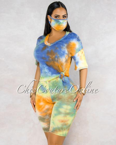 Viriala Blue Orange Tie-Dye Matching Mask Three Piece Set