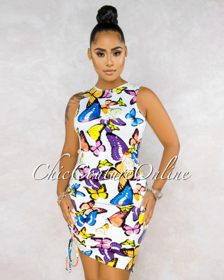 Bernal White Butterfly Print Ruched Side Open Back Dress