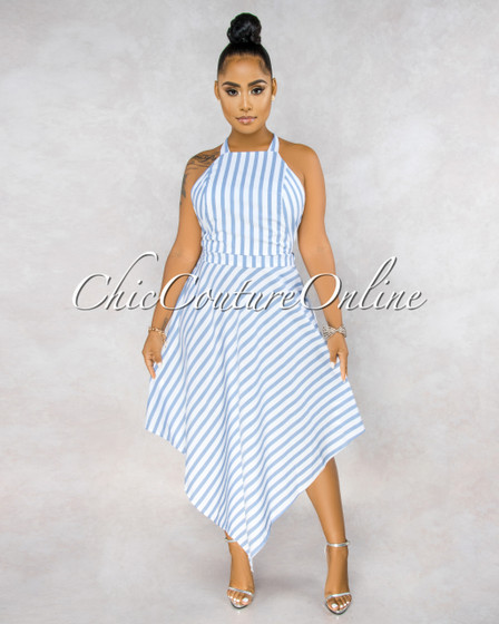 Lauris White Blue Stripes Strappy Back High Low Dress