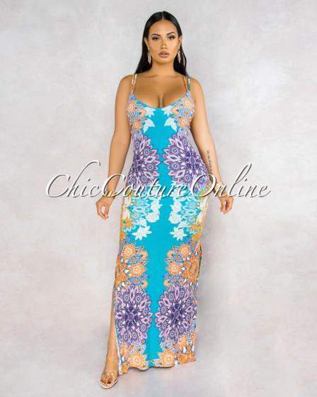 Mandala Jade Multi-Color Print Strappy Back Maxi Dress
