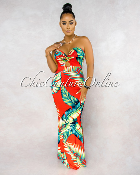 Manny Red Green Leaf Print Front Knot Cut Out Maxi Dress