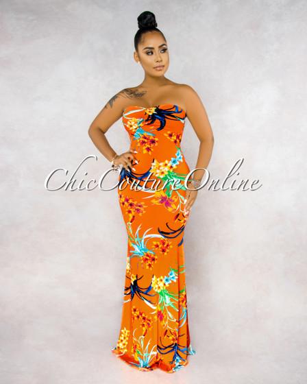 Veneca Orange Multi-Color Floral Print Lace-Up Back Maxi Dress