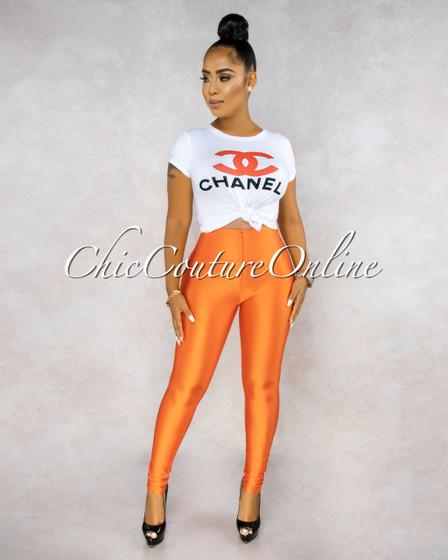 Sandro Orange High Waist Front Zipper Silky Leggings
