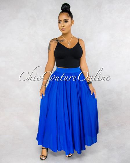 Dondra Royal Blue Wide Flutter Maxi Skirt