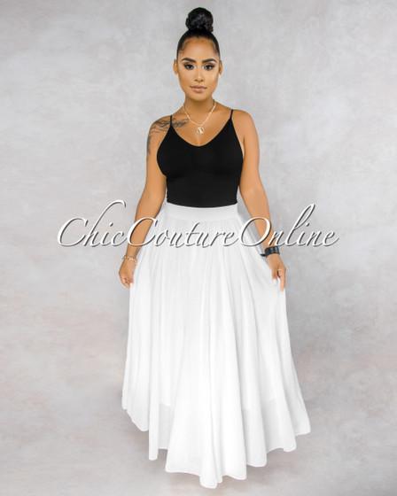Dondra White Wide Flutter Maxi Skirt