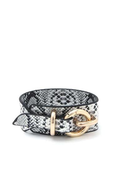 Lanna Hoop Buckle Snake Print Leather Bracelet