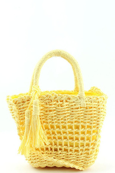 Mattie Yellow Straw Woven BASKET CROSSBODY BAG