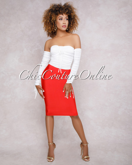 Lizeth Red Elastic Bodycon Skirt