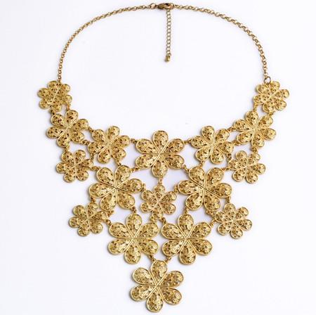 Gold Statement Flower Bib Necklace