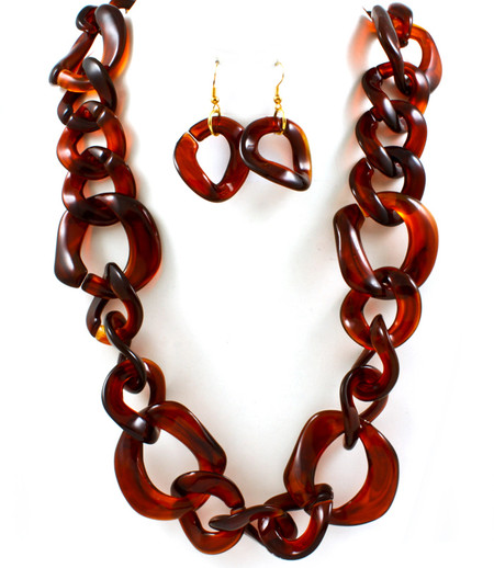 Tortoise Shell Chain Link Necklace