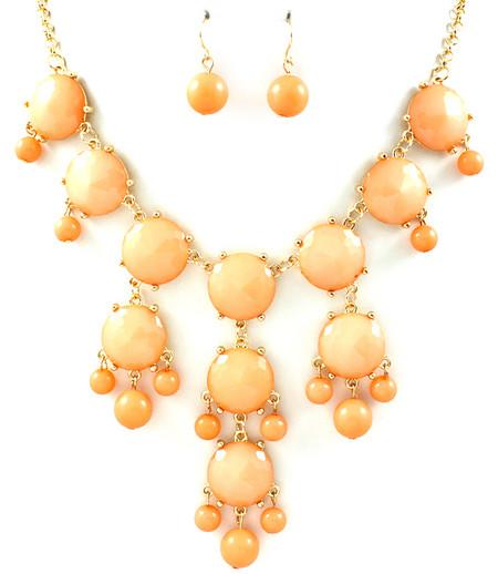 Light Peach Bubble Statement Necklace