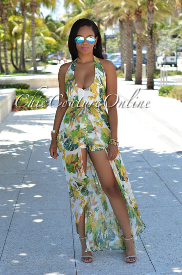 Gatsby Ivory Yellow Multi-Color Floral Romper Maxi Dress