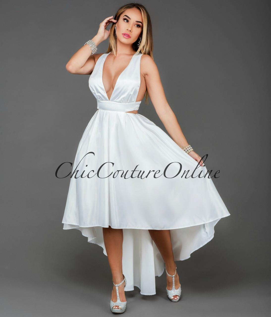 Donatella White Satin Cut-Out High-Low Dress da8a2eb3ab41