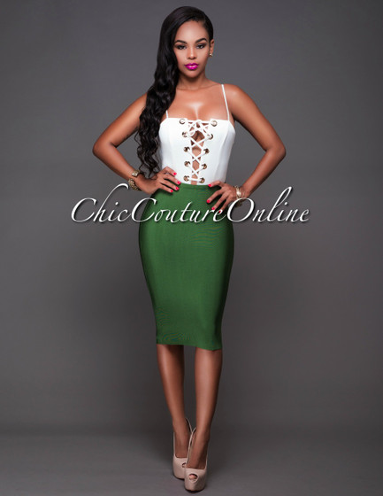 Lizeth Deep Green Elastic Bodycon Skirt
