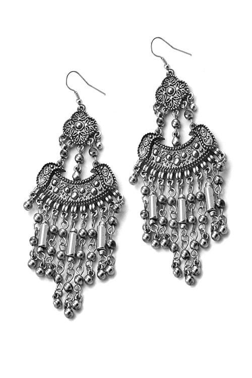 45ee2a4bbf862 Silver Boho Tassel Statement Earrings