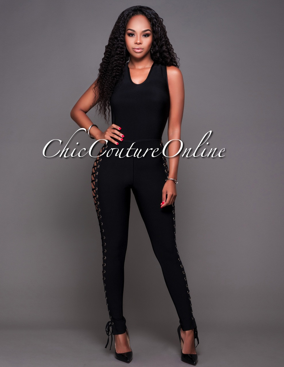 2d620d6054f Lucca Black Lace-Up Sides Bandage Jumpsuit. Your Price   70.00 (You save   65.00). Image 1