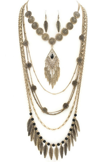 Boho Multi Strand Antiqued Gold Necklace