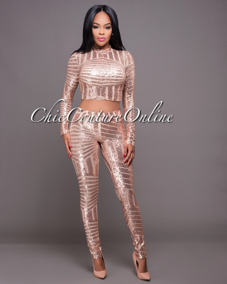 Calabria Rose Gold Sequins Long Sleeves Set