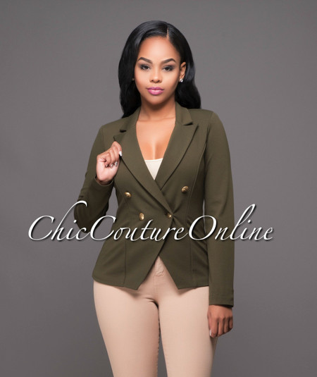 Twiggy Olive Green Double Breasted Blazer