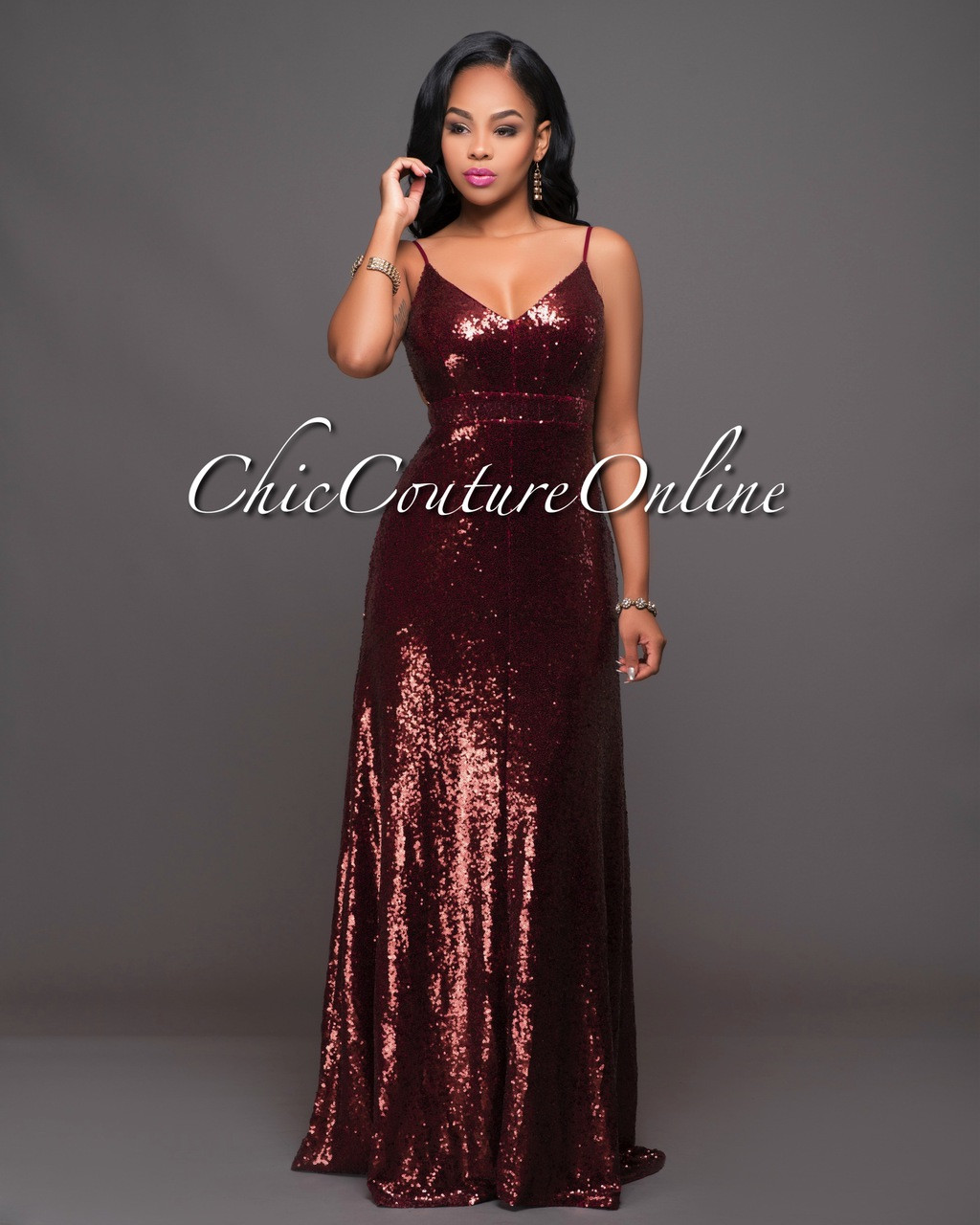 Amora Maroon Sequins Open Back Gown