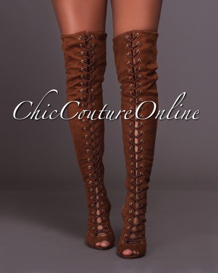 Untie-Me Tan Faux Suede Over-The-Knee Lace-up Boots