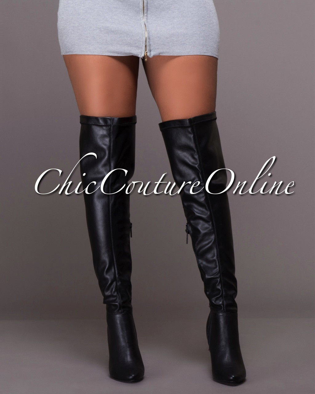 6d4e42a92ff Deadly Lust Black Faux Leather Over-The-Knee Boots. Price   55.00. Image 1
