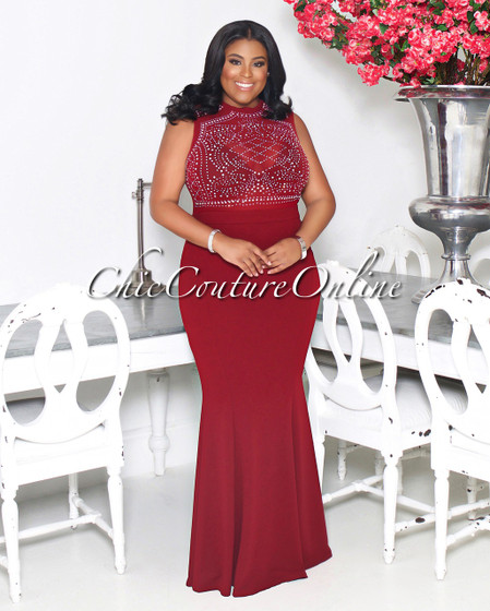 Cassidy Burgundy Embellished CURVACEOUS Gown