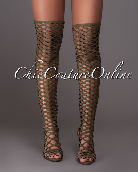 Selena Olive Green Lattice Over-The-Knee Boots