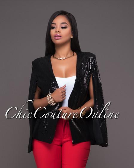Dolce Black Sequins Luxe Cape Jacket