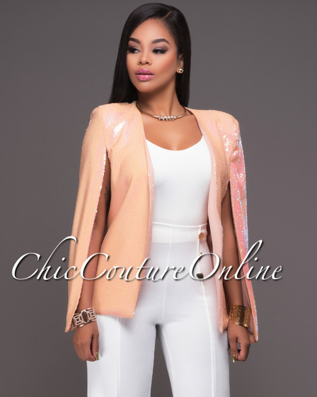 Dolce Iridescent Blush Sequins Luxe Cape Jacket