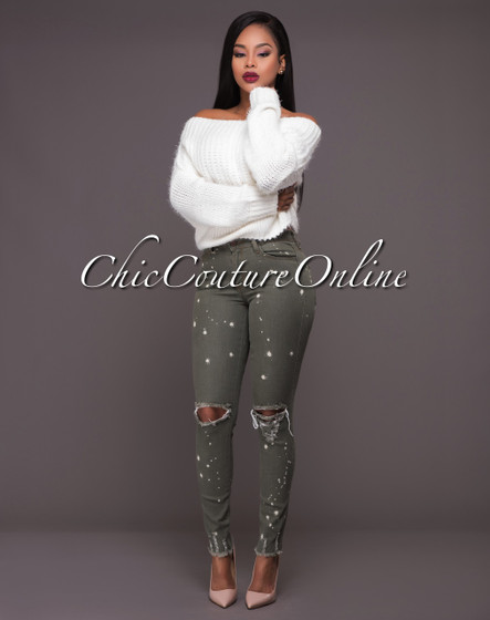Farrow Olive Green Distressed Denim Cut-Out Knees Jeans