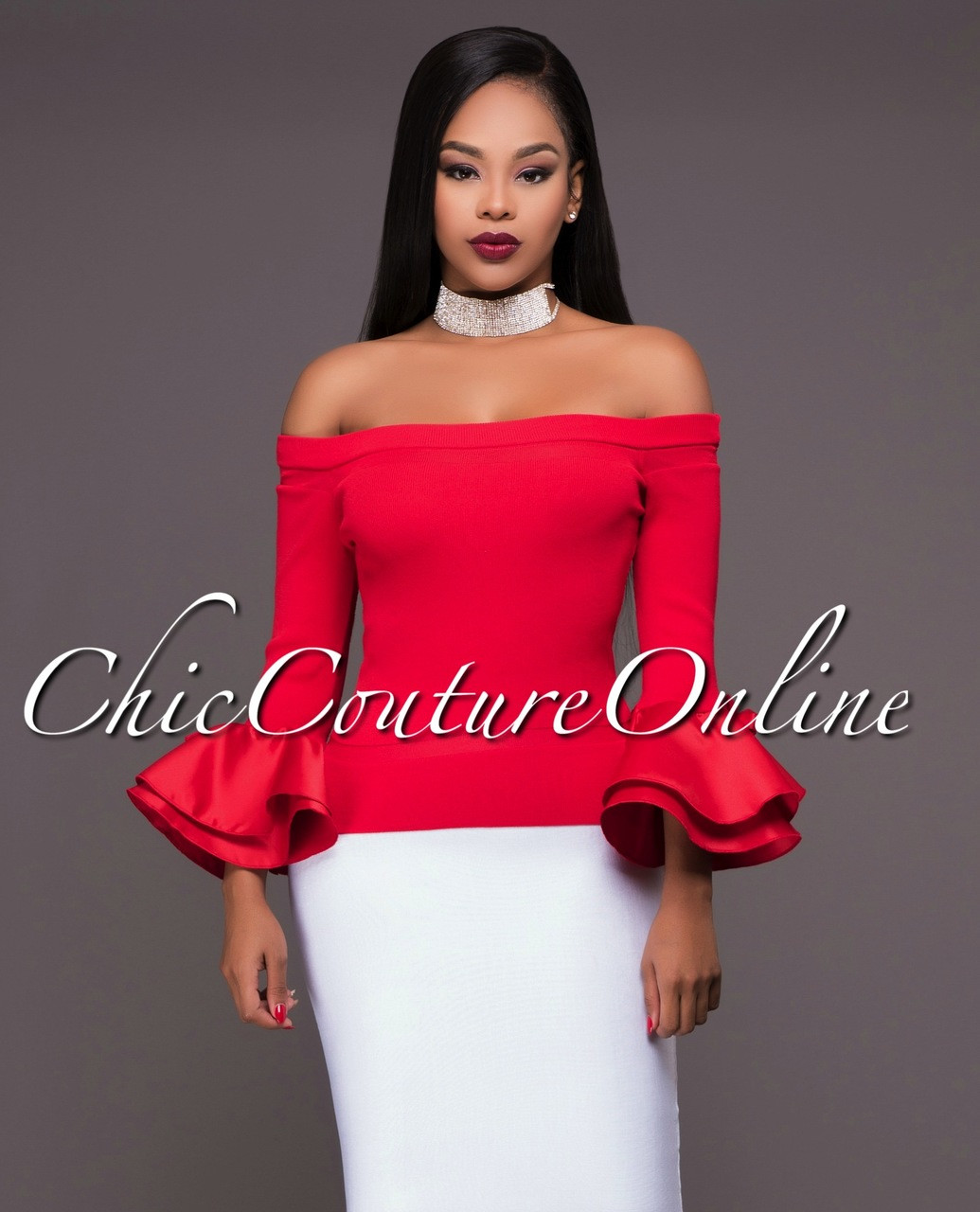 042e819f2bb Sashanie Red Long Bell Sleeves Off-The-Shoulder Top. Your Price: $35.00  (You save $10.00). Image 1